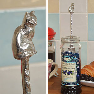 Cat Jam Jar Pewter Spoon, Cat Lovers Gifts