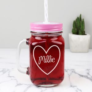 Personalised Mason Drinking Jar With Engraved Heart - garden party