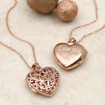 Personalised 18ct Rose Gold Filigree Locket