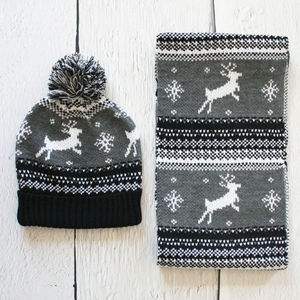 Mens Festive Fairisle Hat And Scarf Set - men's accessories