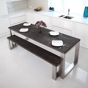 Square Shaped Stainless Steel Dining Table - furniture
