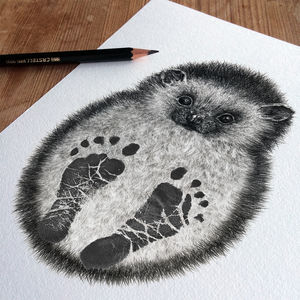 Bespoke Personalised New Baby Footprint Hedgehog