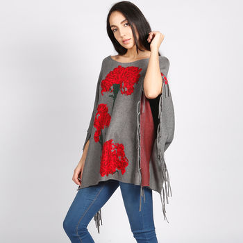Carnation Intarsia Poncho Grey Red