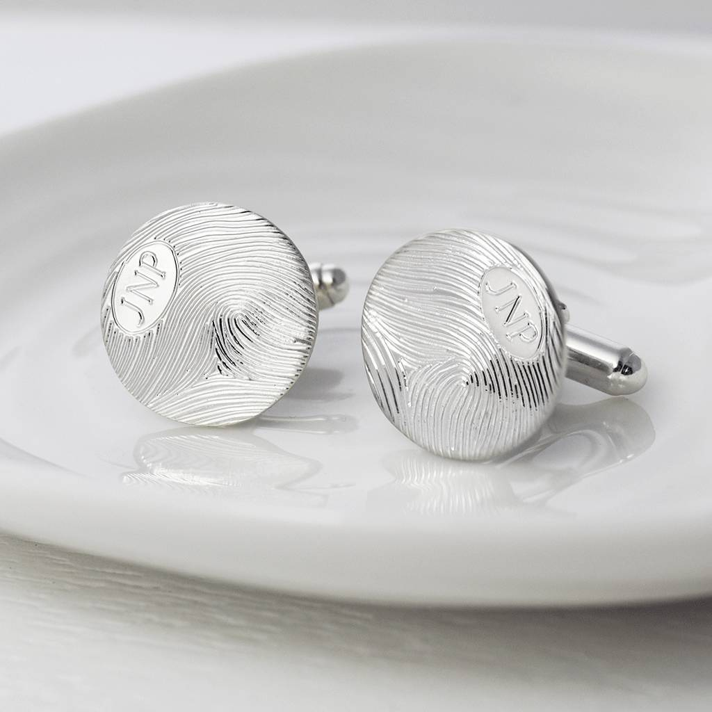 Personalised Initial And Fingerprint Disc Cufflinks