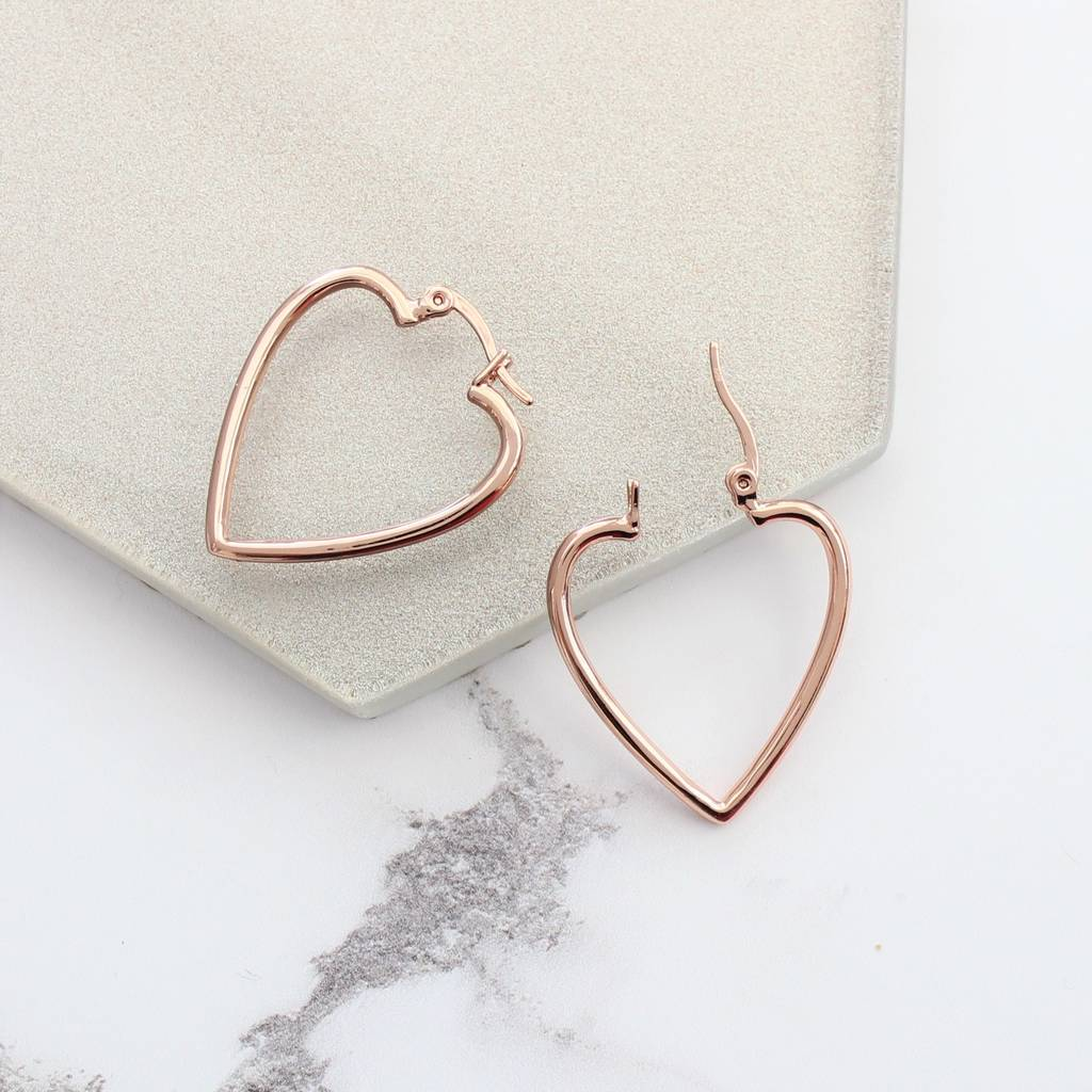 Bish Bosh Becca Large Rose Gold Heart Hoop Earrings