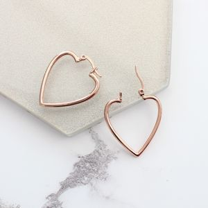 Large Rose Gold Heart Hoop Earrings
