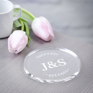 Personalised Couples Drinks Coaster Clear Acrylic