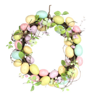 Spring Blossom And Pastel Easter Egg Wreath