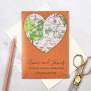 Personalised Copper Map Heart 7th Anniversary Card