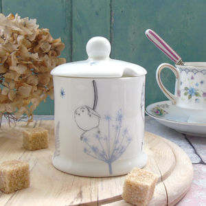 Dandelion And Birdy, Sugar Or Jam Bone China Pot - dining room