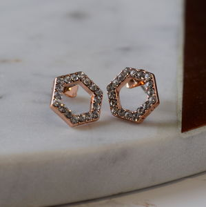 Rose Gold Swarovski Hexagon Earrings