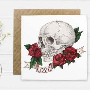 Skull And Rose Tattoo Style 'Love' Valentines Card