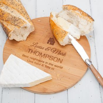 Personalised House Round Chopping Board Or Cheese Board