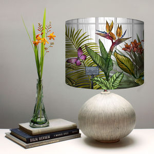 Glasshouse Tropical Botanical Print Lampshade - bedroom