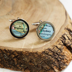 Personalised Circle Map Cufflinks - jewellery sale