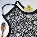 Brighton Illustrated Black Cotton Apron