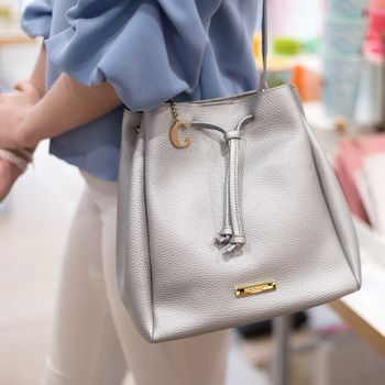Personalised Chloe Bucket Bag In Metallic Silver
