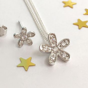 Sterling Silver Daisy Necklace Set