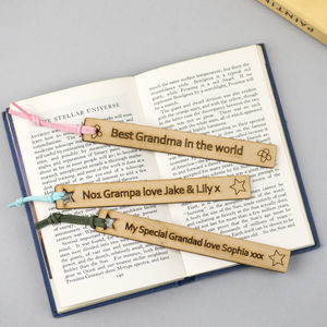 Personalised Grandparent's Wooden Bookmark - gifts for grandmothers