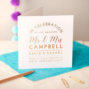 Personalised Copper Foiled Wedding Detail Card - wedding cards