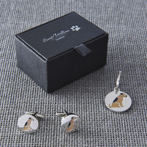 Daddy And Me Border Terrier Cufflinks And Dog Tag Set