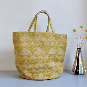 Geometric Large Yellow Jute Tote Bag