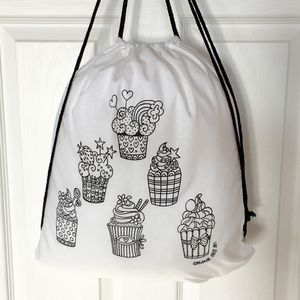 Colour In Pe Bag With Cupcakes - bags, purses & wallets