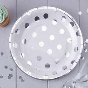 Silver Foiled Polka Dot Paper Plates