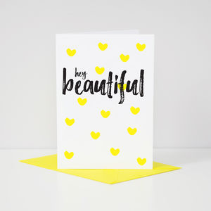 Contemporary 'Hey Beautiful' Sunshine Yellow Card