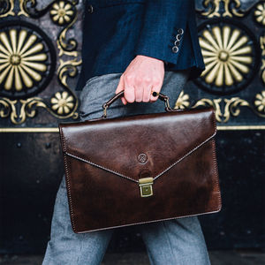 Personalised Handcrafted Leather Briefcase 'Lorenzo' - bags & cases
