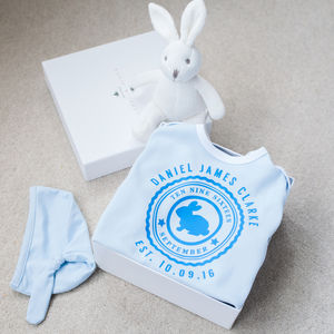 Personalised Bunny Babygrow Gift Set - soft toys & dolls