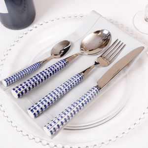 Family Of Four Blue Stripes And Dots Cutlery Set