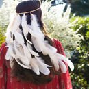 White Boho Festival Feather Headpiece