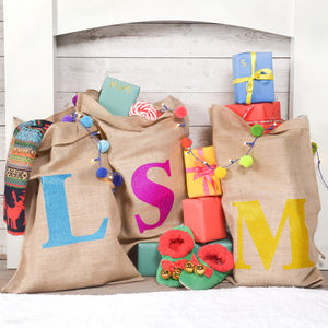 Initial Glitter Sack - stockings & sacks