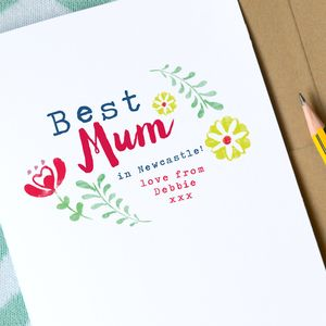 Personalised 'Best Mum' Mother's Day Card - mother's day cards