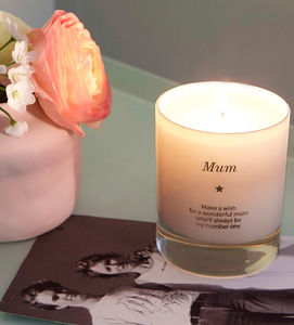 'Make A Wish For A Wonderful Mum' Candle - memories of mum