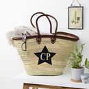 Personalised Leather Trim Straw Bag