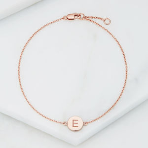Gold Silver Or Rose Disc Initial Disc Bracelet - jewellery gifts for children
