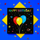 Glitter Happy Birthday Balloon Greeting Card