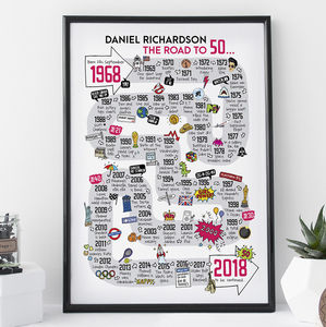 50th Birthday Personalised Print 'The Road To 50' - posters & prints