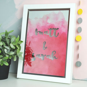 Personalised Watercolour Wording Papercut - for your other half