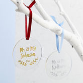 Mr And Mrs First Christmas Foiled Decoration - christmas decorations