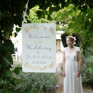 Personalised Botanical Wedding Welcome Sign - signs