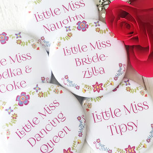 Floral 'Little Miss' Personalised Hen Party Badges - new in jewellery