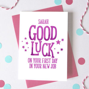 Personalised Good Luck New Job Card - good luck cards