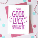 Personalised Good Luck New Job Card