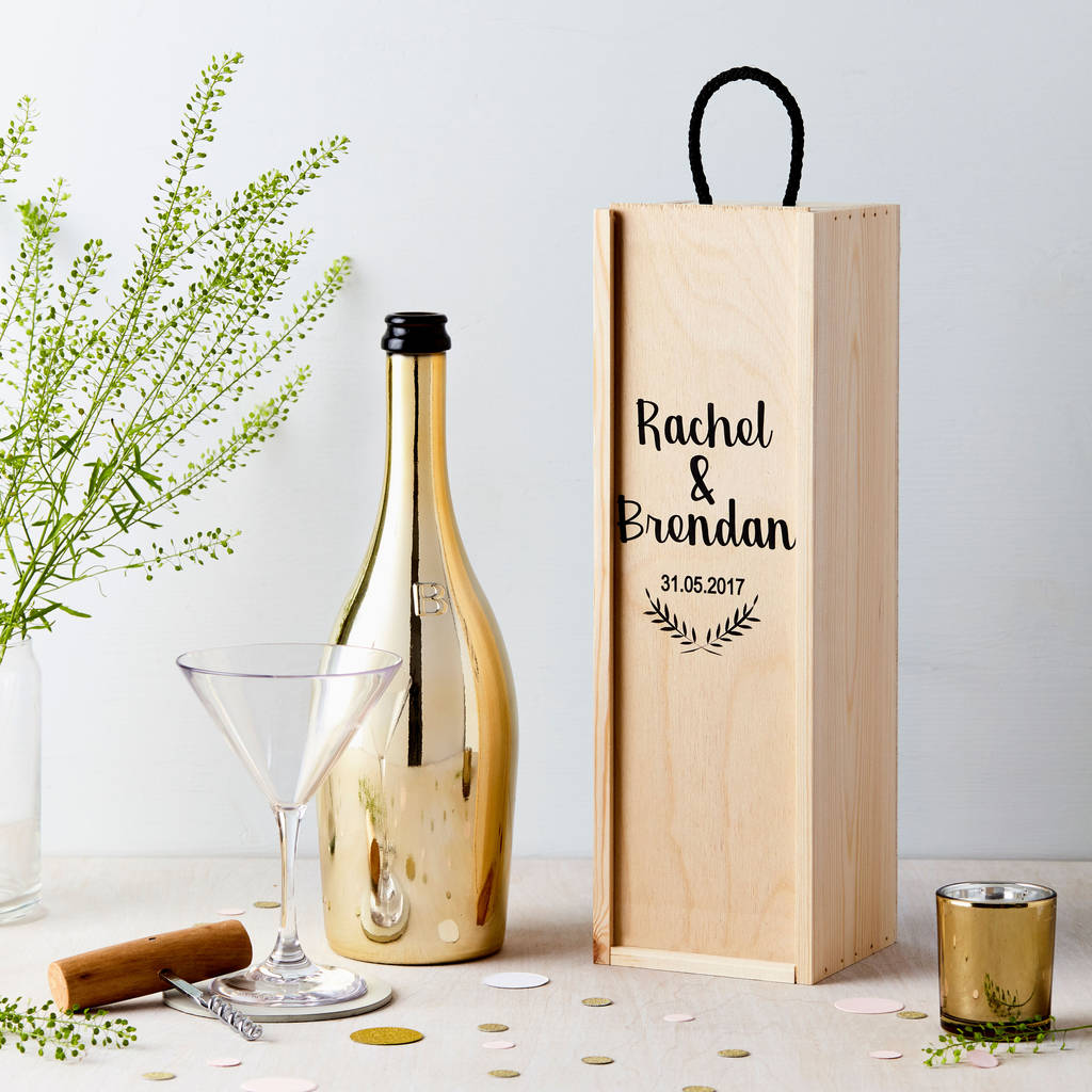 Personalised Wedding Wooden Bottle Gift Box  sc 1 st  Notonthehighstreet.com & personalised wedding wooden bottle gift box by tillie mint loves ...