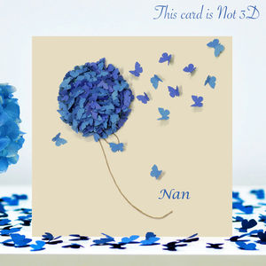 Nan Blue Hydrangea Butterfly Card/ Nan Birthday Card - birthday cards