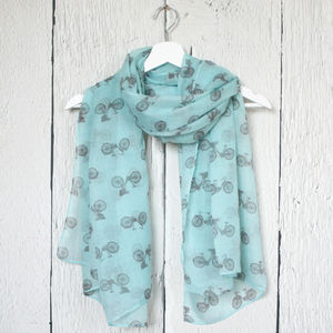 Vintage Bicycle Print Scarf - pashminas & wraps