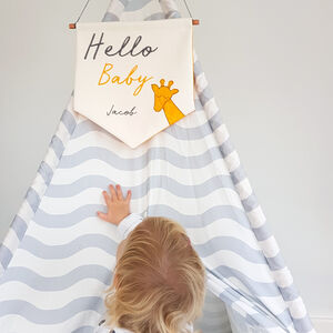 Personalised New Baby Embroidered Wall Hanging